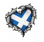 Ripped Torn Metal Heart Carbon Fibre with Scotland Scottish Flag External Car Sticker 105x100mm
